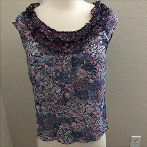 Odille Silk Floral Top Purple Blue Ruffle Collar 4